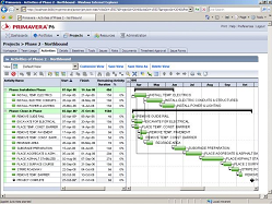 Project schedule in Oracle Primavera