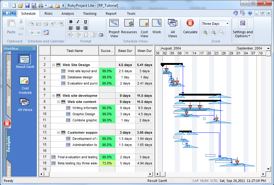 Click to view RiskyProject Lite 5.0 screenshot