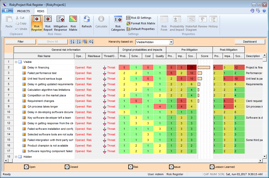 RiskyProject version 7 - Project risk management and risk analysis